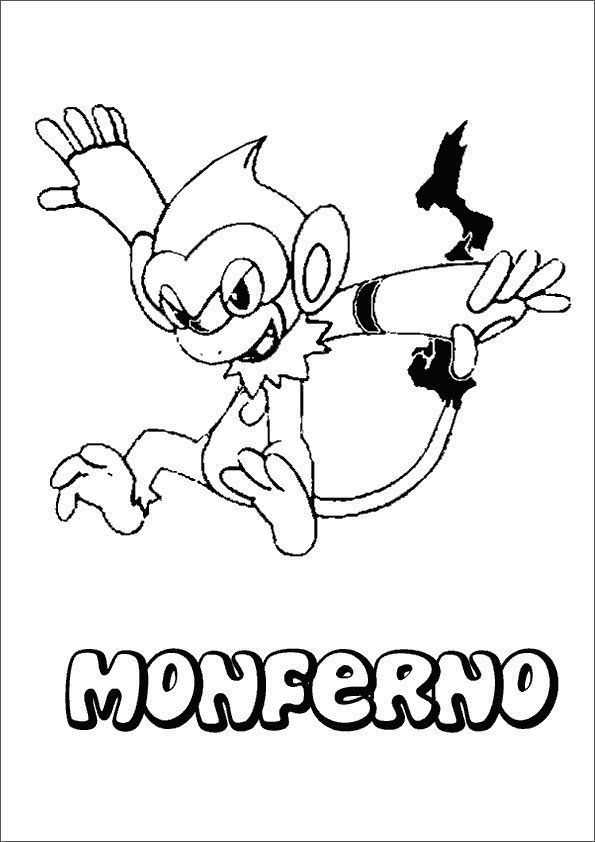 Pokemon Fire Monkey Coloring Pages
